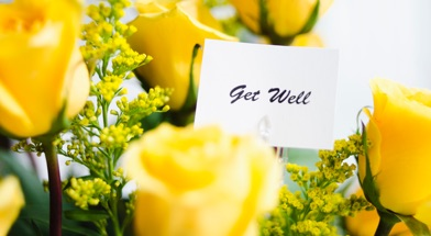 Yellow Flower with Get Well Soon Message